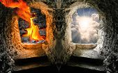 stock photo of hell  - Two gates to heaven and hell - JPG