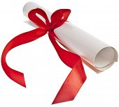 Graduation diploma with red ribbon  isolated on white background. Symbol of successful graduation
