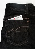 DAYTON, OHIO - FEBRUARY 2, 2014: DKNY designer jeans pocket with Macy's credit card. DKNY is clothin