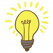 picture of low-light  - cartoon illustration of shiny hand drawn lightbulb - JPG