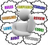 image of financial audit  - Compliance Rules Regulations Laws Audit Standards Thought Clouds - JPG