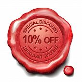 foto of credential  - 10 percent off red wax seal over white background - JPG