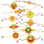 stock photo of rakhi  - easy to edit vector illustration of collection of Rakhi for Raksha bandhan celebration - JPG