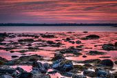 foto of early morning  - Early morning dawn HDR seascape at Sachuest Wildlife Refuge in Middletown Rhode Island - JPG