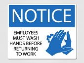 stock photo of precaution  - Employees wash hands sign vector illustration - JPG