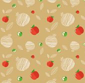 stock photo of sukkot  - illustration of Rosh Hashanah background with pomegranates and apples - JPG