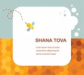 "stock photo of hebrew  - ""Happy New Year"" (Hebrew) Rosh Hashana greeting card with leaking honey. illustration - JPG"