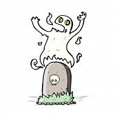 picture of funny ghost  - cartoon ghost rising from grave - JPG
