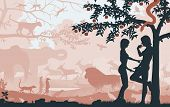 stock photo of garden snake  - Editable vector silhouettes of Adam and Eve in the Garden of Eden with all figures as separate objects - JPG