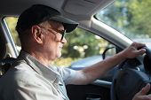 pic of grandpa  - Side view of an elderly man in glasses driving a car on a sunny summer day - JPG