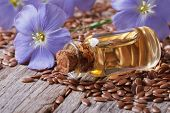 image of flax seed oil  - flax seeds blue flowers and oil in a bottle on the table close-up horizontal