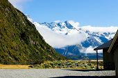 stock photo of tramp  - Beautiful natural landscape of mountains of New Zealand - JPG