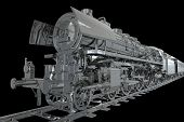 foto of locomotive  - Chromed Locomotive with Carts on the Chromed Tracks - JPG