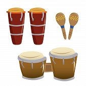 stock photo of bongo  - a pair of bongos and some wooden shakers in a white background - JPG