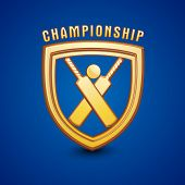 foto of cricket shots  - Golden shield for Cricket Championship on shiny blue background - JPG