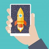 picture of spaceships  - Modern vector illustration concept for new business project startup new product or service - JPG