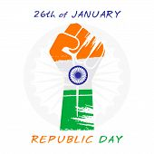 image of ashok  - happy republic day greeting design tricolor hand vector - JPG