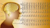 foto of neurology  - a medical background with a man and epilepsy waves - JPG