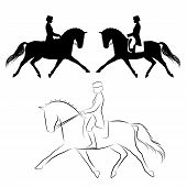 stock photo of horse-riders  - Set of three variations of dressage horse with rider performing extended trot - JPG