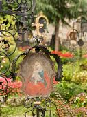 stock photo of catacombs  - Petersfriedhof Cemetery and catacombs at St Peters Abbey catholic church in Salzburg Austria - JPG