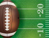 American Football Ball And Field Illustration poster