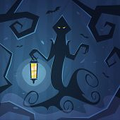 stock photo of wraith  - Cartoon illustration of the wraith with lantern in the wood - JPG