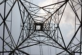 image of power transmission lines  - Large Electric Power Transmission Line with sky - JPG
