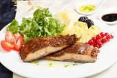 image of crust  - Dish of a delicious roasted salmon fillet with crust - JPG
