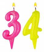 Постер, плакат: Birthday Candles Number Thirty Four