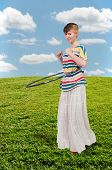 pic of hula hoop  - Young beautiful woman with a hula hoop - JPG