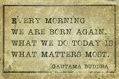 stock photo of buddha  - Every morning we are born again - JPG
