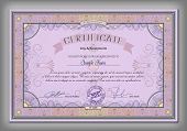 foto of macrame  - Vintage certificate template with detailed border and calligraphic elements on purple paper with safety watermarks in vector - JPG
