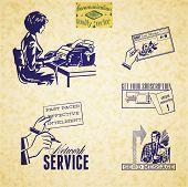 picture of secretary  - Vintage communication illustration set - JPG