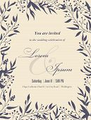 stock photo of announcement  - Wedding invitation cards with floral elements - JPG