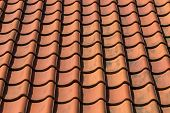 stock photo of red roof tile  - Red roof tile pattern over blue sky - JPG