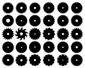 image of sawing  - Black  silhouettes of different circular saw blades - JPG
