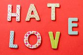 picture of hate  - Colorful Text Hate and Love with beautiful patterns on red background - JPG