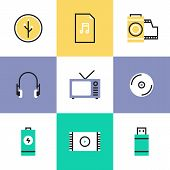 picture of tv sets  - Multimedia objects audio and video items like tv set headphones audio file and usb connection interface - JPG