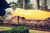 picture of gautama buddha  - Reclining Buddha in Ayutthaya historical park Thailand - JPG