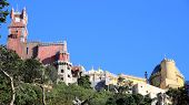 picture of palace  - palace of pena found at the top of the mountain palace full of history and color - JPG