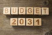 stock photo of reveillon  - Budget for 2031 wooden - JPG