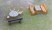 pic of lawn chair  - Group of garden furniture seen from above - JPG