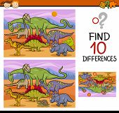 stock photo of brain teaser  - Cartoon Illustration of Finding Differences Educational Game for Preschool Children with Dinosaurs - JPG