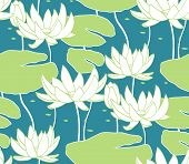 picture of water lily  - Vintage water lily seamless pattern - JPG