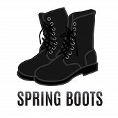 foto of work boots  - vector cartoon black army style spring boots - JPG
