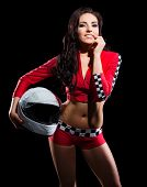 image of karts  - Young girl racer with helmet isolated - JPG