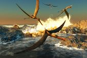 stock photo of pterodactyl  - A flock of Anhanguera flying dinosaur reptiles catch fish off a rocky coast in prehistoric times - JPG