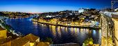image of dom  - Panoramic view of Porto and the Dom Luiz bridge in Portugal at night - JPG