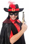 image of zorro  - Young man in carnival coat with gun isolated on white - JPG