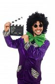 foto of clapper board  - Funny man in wig with clapper board isolated on white - JPG